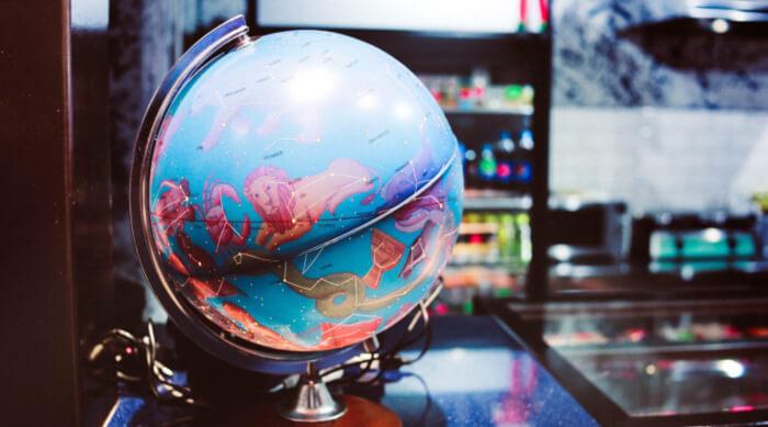 Zodiac sign globe