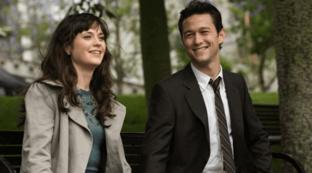500 Days of Summer: Summer and Tom sitting on a bench
