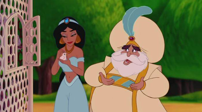 Aladdin: Jasmine holds a bird while talking with the sultan about seeing the world