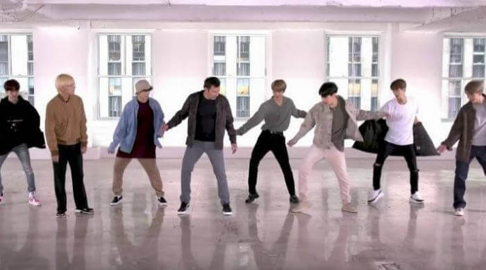 BTS dancing on The Tonight Show