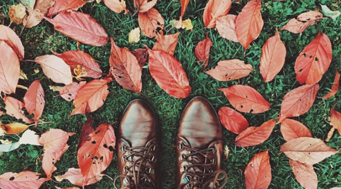 Pair of brown boots standing in a field of fallen autumn leaves