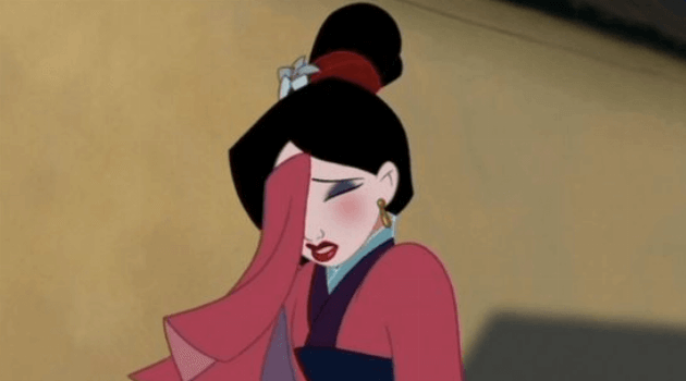 Mulan: Mulan dressed up with her face in her hand