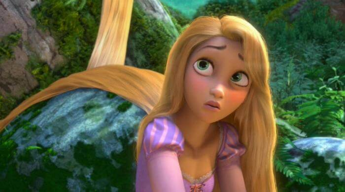 Rapunzel looking upset in a scene from Tangled