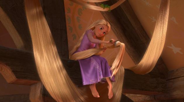 Tangled: Rapunzel brushes her hair