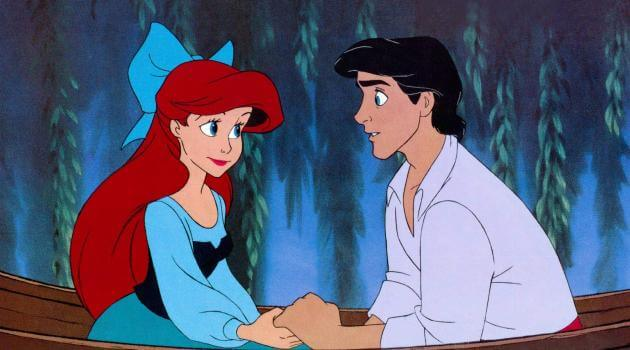 The Little Mermaid: Ariel and Prince Eric hold hands in boat on swamp