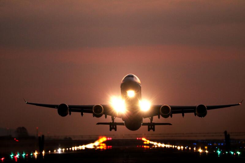 Airplane landing at night