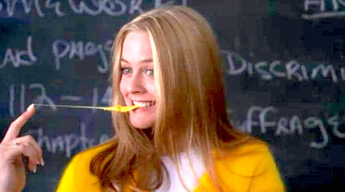 Cher playing with her gum after her debate presentation in Clueless