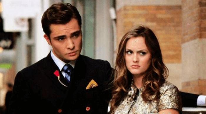 Gossip Girl: Blair and Chuck frowning