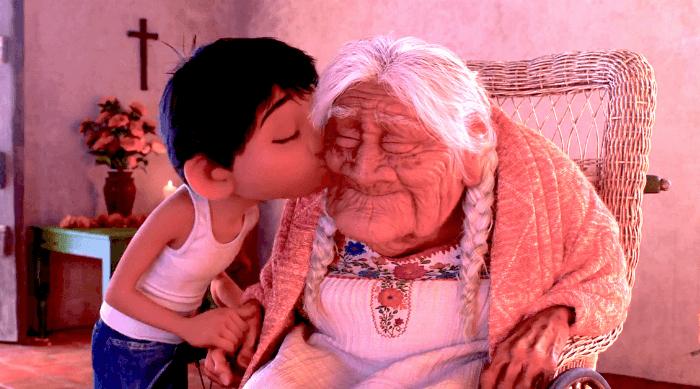 Coco: Miguel kisses his great-grandma Coco