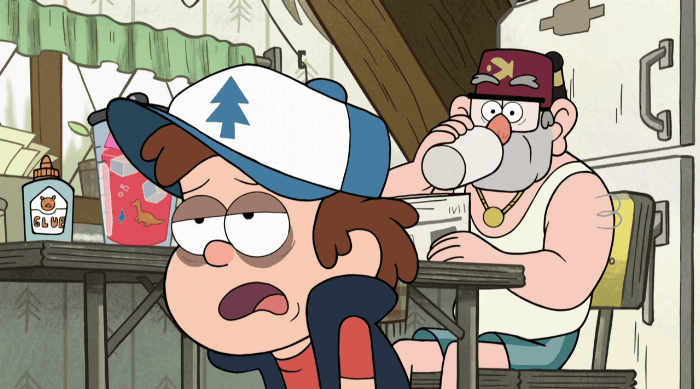 Gravity Falls: Dipper looking exhausted while Grunkle Stan drinks coffee