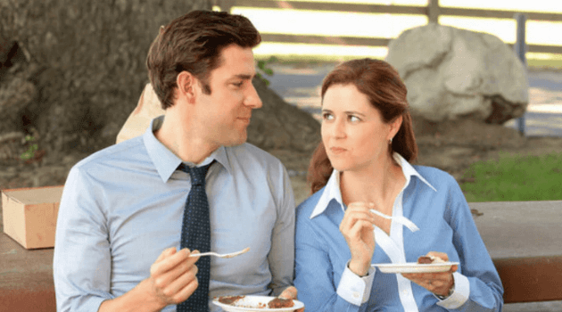 The Office: Jim and Pam eating together