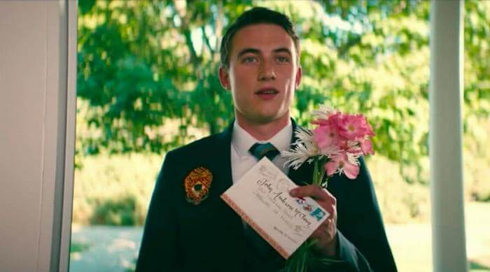 To All the Boys I've Loved Before: John Ambrose McClaren with flowers and letter