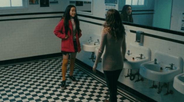 To All the Boys I've Loved Before: Lara Jean pink peacoat outfit