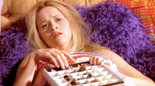 Legally Blonde: Elle eating a box of chocolates