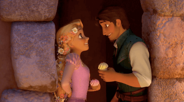 Tangled: Rapunzel and Flynn eating cupcakes in a doorway