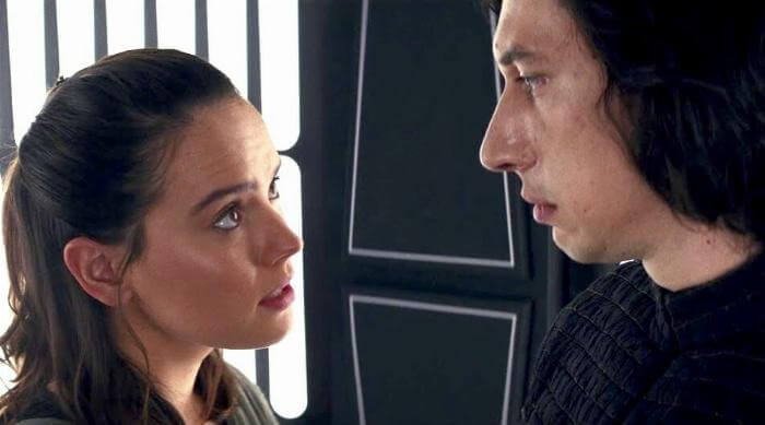 Star Wars: The Force Awakens Rey and Kylo Ren in elevator