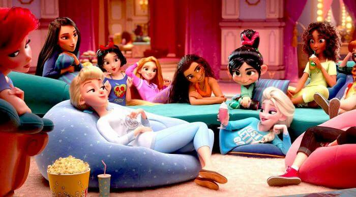 Ralph Breaks the Internet - Vanellope hanging out with all of the Disney princesses at a sleepover