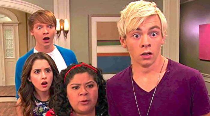 Austin & Ally: Austin, Ally, Trish and Dez looking surprised