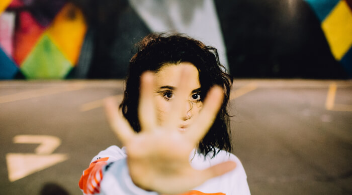 girl with hand in face