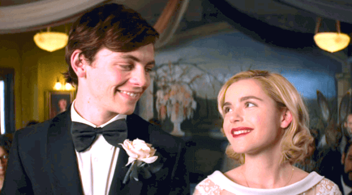 Chilling Adventures of Sabrina: Harvey Kinkle and Sabrina Spellman at their dream wedding