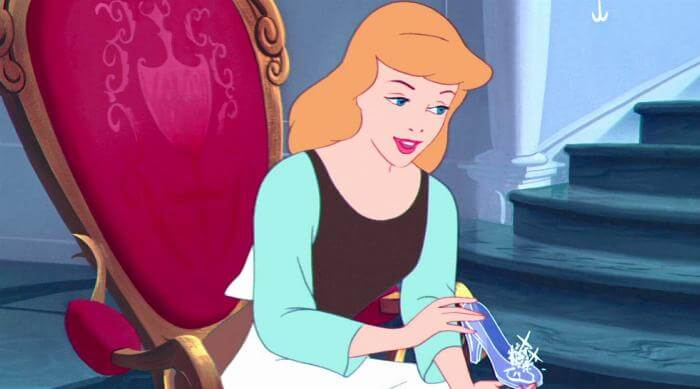 Cinderella- Disney Animated movie - Cinderella holding up glass slipper