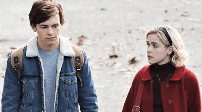 Chilling Adventures of Sabrina: Sabrina Spellman and Harvey Kinkle walking together