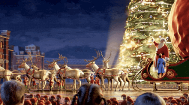 The Polar Express: santa giving the first gift of the season