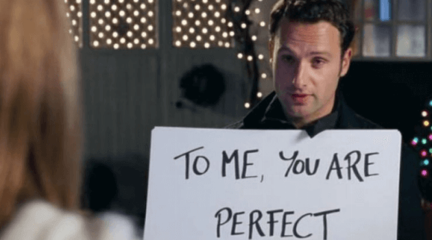 Love Actually cue card scene