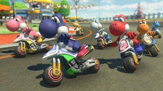 Mario Kart 8 Deluxe: Yoshis driving motorcycles