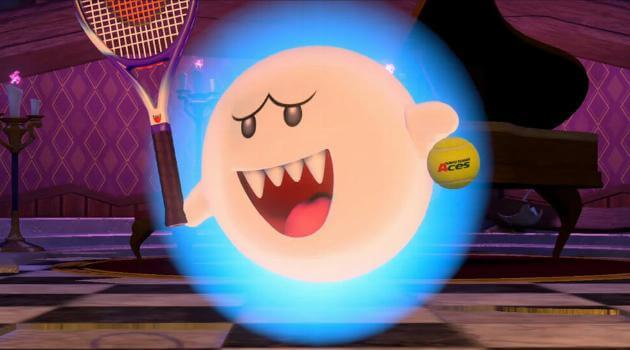 Mario Tennis Aces: Boo serving in a tennis game