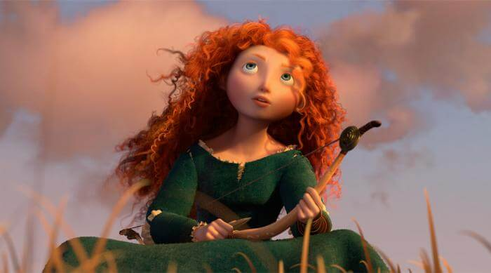Merida sitting in a field, staring up at the clouds in Brave