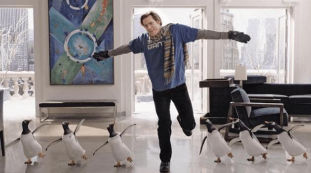 Mr. Popper's Penguins: Jim Carrey dancing with penguins