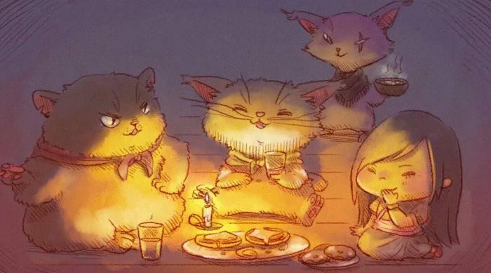 Nairi: Tower of Shirin: Eating with cat bandits