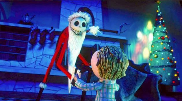 The Nightmare Before Christmas: Jack Skellington dressed as Santa gives a gift to a child