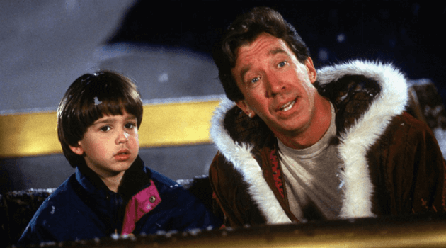 The Santa Clause: Scott and Charlie in a sleigh