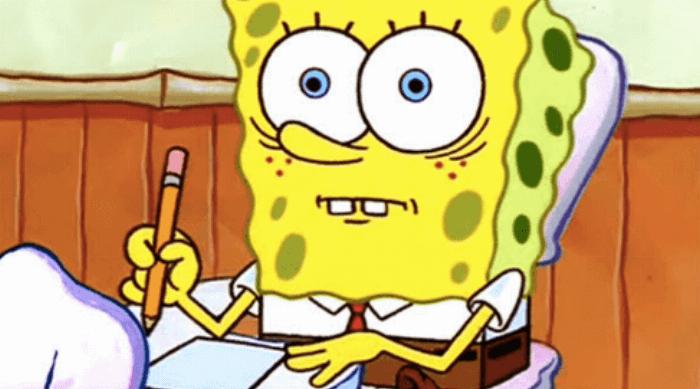 Spongebob Squarepants: Spongebob taking a test and looking very scared