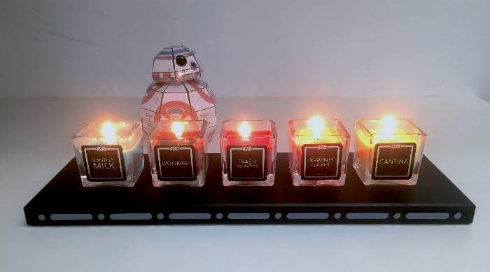 Star Wars: A New Hope - lit candles with BB-8 in background
