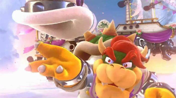 Super Mario Odyssey: Bowser in white suit throwing his hat