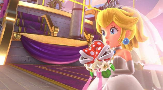 Super Mario Odyssey: Princess Peach in a wedding dress holding piranha plant bouquet