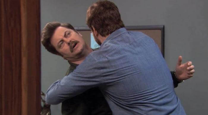 Parks and Recreation awkward hug meme