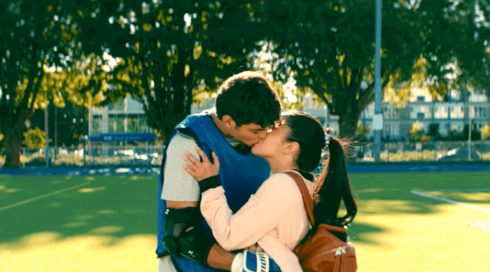 To All the Boys I've Loved Before: Lara Jean and Peter second kiss during lacrosse practice