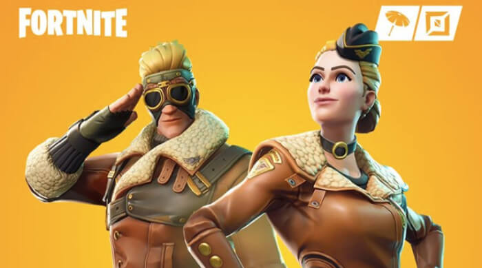 Military Fortnite characters posing on a yellow background