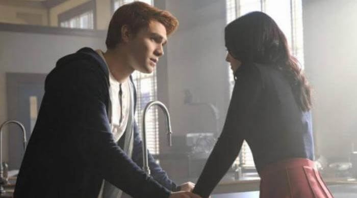 Archie comforting Veronica on an episode of Riverdale