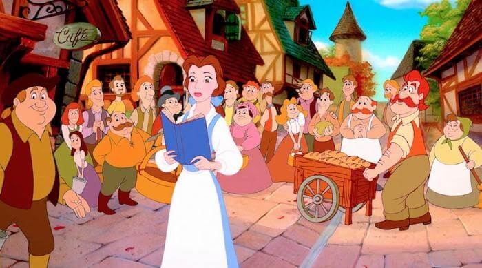 Beauty and the Beast: Belle with her book in the village