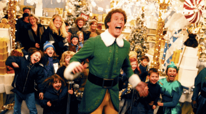 Elf: Buddy screaming at Santa's arrival