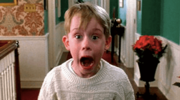Home Alone: Kevin McCallister screaming at the camera