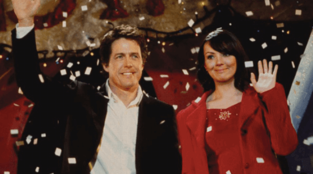 Love Actually: prime minister and Natalie holding hands during the school play