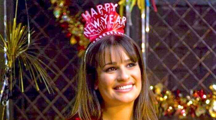 Glee: Lea Michele smiling with New Years Eve crown