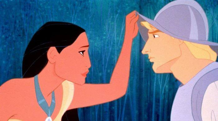 Pocahontas and John Smith meeting in Pocahontas