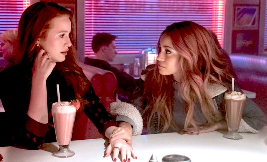 Riverdale: Cheryl and Toni drinking milkshakes in the diner